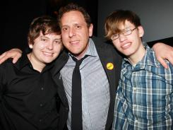 Filmmaker Lee Hirsch, center, appears with film subjects Kelby Johnson, left, and Alex Libby at a special screening of 'Bully' in New York.