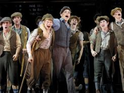 Read all about it: Jack, (Jeremy Jordan, center right) rallies his newsboy cohorts in the new Broadway musical based on the 1992 film.