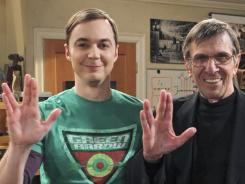 On 'Big Bang Theory,' Sheldon (Jim Parsons) receives 'Star Trek' collectibles as a thank-you from Penny, leading him to be haunted by Mr. Spock (Leonard Nimoy, who is heard but not seen).