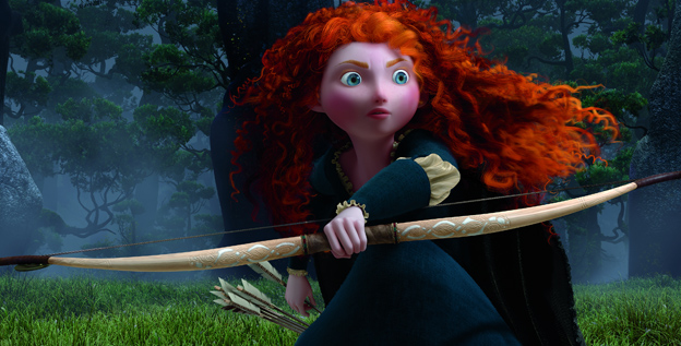 "Archery abounds: Merida, star of Pixar's 'Brave,' sports a bow and arrow. ""Showing her with a bow instantly shows strength, bravery and promises great adventure,' says producer Katherine Sarafian."