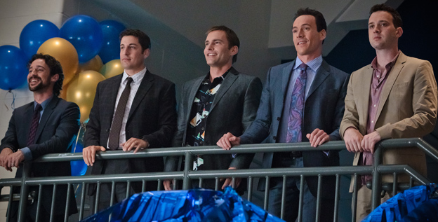 The boys are back in town: Original 'American Pie' cast members Thomas Ian Nicholas, left, Jason Biggs, Seann William Scott, Chris Klein and Eddie Kaye Thomas return for 'American Reunion.'