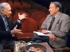 Mike Wallace, right, here interviewing Mel Brooks on 60 Minutes, died at age 93.
