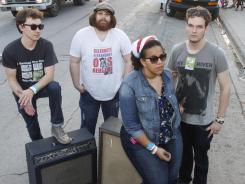 Heath Fogg, left, Zac Cockrell, Brittany Howard and Steve Johnson of the Alabama Shakes.