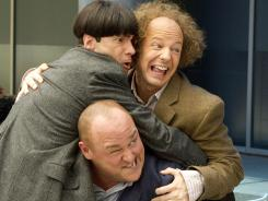 Chris Diamantopoulos, Sean Hayes and Will Sasso, clockwise from top left, hang together in the 'Stooges' movie.