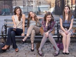 Marnie (Allison Williams), Jessa (Jemima Kirke), Hannah (show creator Lena Dunham) and Shoshanna (Zosia Mamet) are the 'Girls' on HBO's new comedy, executive-produced by Judd Apatow.