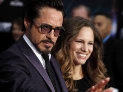 'The Avengers' star Robert Downey Jr. and his wife, producer Susan Downey, arrive at the premiere.