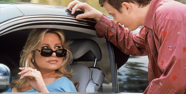 Jennifer Coolidge as Stifler's Mom (with Eddie Kaye Thomas, right) in 'American Pie 2.'