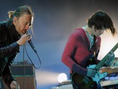 """This band is called Radiohead"": Thom Yorke, left, and Jonny Greenwood got the fans going Saturday."
