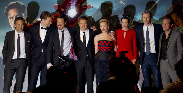 Avengers assembled: Mark Ruffalo, left, Tom Hiddleston, Robert Downey Jr, Jeremy Renner, Scarlett Johansson, Cobie Smulders, Chris Hemsworth and Clark Gregg at the European premiere of 'The Avengers' in London.