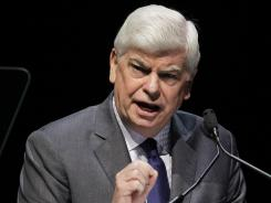 Motion Picture Association of America chief Chris Dodd gives his state of the industry address Tuesday in Las Vegas.