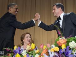 Comedian Jimmy Kimmel, right, bragged about high-fiving President Obama during the White House Correspondents' Dinner Saturday night.