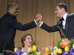 Jimmy Kimmel bragged about high-fiving President Obama during the White House Correspondents' Dinner on Saturday night.