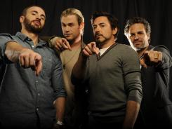 The core four: Chris Evans (Captain America), left, Chris Hemsworth (Thor), Robert Downey Jr. (Iron Man) and Mark Ruffalo (The Hulk) assemble in 'Marvel's The Avengers'.