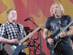 Don Henley, left, and Joe Walsh of the Eagles perform during the New Orleans Jazz & Heritage Festival.