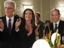 Ted Danson, left, Peri Gilpin and Marc Vann star in the cliffhanger-filled season finale of 'CSI.'