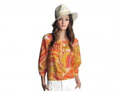 Pink Pisces Printed Wren Top, $89.50; White Sateen Short, $49.50; Orange Lily Pendant, $55.