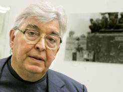 "Two-time Pulitzer winner Horst Faas poses in the exhibition ""Visible War"" in Hanover, Germany, on Oct. 1, 2005."