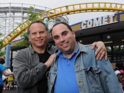 Author Buzz Bissinger, left, and his son Zach, who is the subject of his latest work, 'Father's Day,' at Hersheypark in Hershey, Pa.