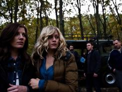 Nuclear disaster: Devin Kelley, left, Olivia Taylor Dudley, Nathan Phillips, Jesse McCartney and Dimitri Diatchenko star in the formulaic frightfest 'Chernobyl Diaries.'