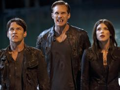 Fresh 'Blood': Stephen Moyer, left, Alexander Skarsgard and Lucy Griffiths are on the prowl as the vampire series returns.