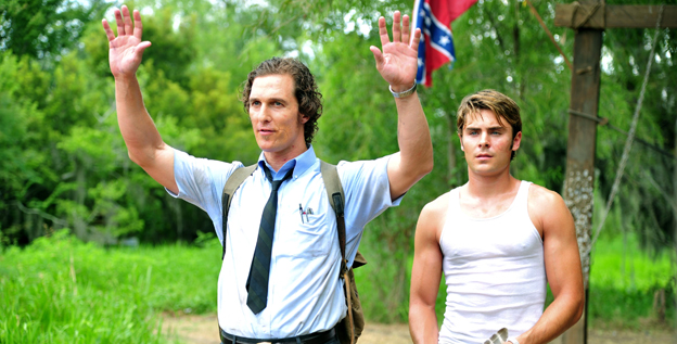 Matthew McConaughey, left, and Zac Efron in 'The Paperboy' (November 2012). McConaughey plays Ward Jansen, a closeted gay newspaper reporter investigating a case involving a death row inmate in Florida.