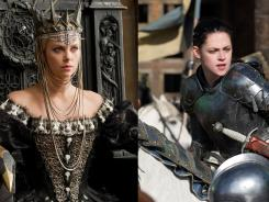 Thus far it's been a testosterone-fueled film season, but Charlize Theron, left, and Kristen Stewart take on the boys at the box office (and each other) in 'Snow White and the Huntsman,' opening nationwide Friday.