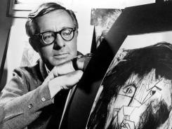 Illustrated Man: Ray Bradbury with a picture that was part of a school project to illustrate characters in one of his dramas.
