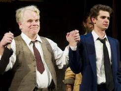 Philip Seymour Hoffman, left, and Andrew Garfield are both Tony-worthy in 'Arthur Miller's Death of A Salesman.'