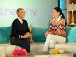 "Talk show host Bethenny Frankel welcomes fellow talk show host Ellen DeGeneres during a taping of ""bethenny"" in Burbank, Calif., on Thursday."