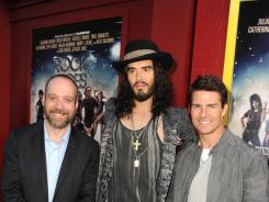 "Paul Giamatti, Russell Brand and Tom Cruise arrive at the premiere of ""Rock of Ages"" at Grauman's Chinese Theatre in Hollywood on Friday."