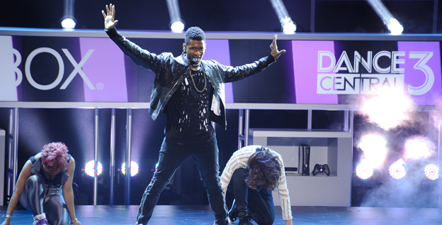 Usher performs at the Galen Center before the start of E3 as part of Microsoft's announcement of his partnership with Harmonix for the dance video game 'Dance Central 3.'
