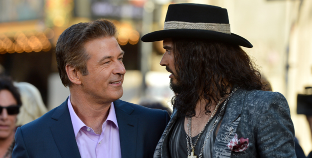 Alec Baldwin, left, and Russell Brand at the Hollywood premiere of 'Rock of Ages.' Offsceen the two had &quot;this fantastic bromance going on,&quot; says director Adam Shankman. &quot;They adored each other.&quot;