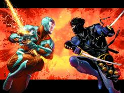 Aric does battle with a new version of Ninjak beginning in a September issue of X-O Manowar.