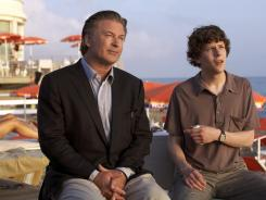 John (Alec Baldwin), a successful American architect reliving a key period in his youth, and his youthful alter ego Jack (Jesse Eisenberg) share a moment in 'To Rome with Love.'