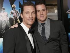 """Actors Matthew McConaughey, left, and Channing Tatum attend the premiere of """"Magic Mike"""" on Sunday at Regal Cinemas L.A. Live."""