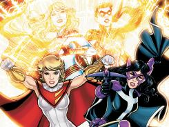 Power Girl and Huntress are women stuck in a different parallel world in the DC Comics series Worlds' Finest.