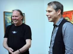 Musician Neil Young, left, inspired artist Shepard Fairey's paintings. Fairey's art is on display through July 14 at the Perry Rubenstein Gallery in Los Angeles.