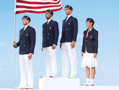 Team USA: Olympic athletes Ryan Lochte, left, Bryan Clay, Giuseppe Lanzone and Heather Mitt model opening ceremony uniforms designed by Ralph Lauren.