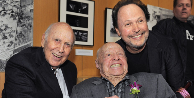 It's a Mad, Mad, Mad, Mad World joins cast members Carl Reiner, left, and Mickey Rooney at the kickoff of The Last 70mm Film Festival in Beverly Hills, Calif.
