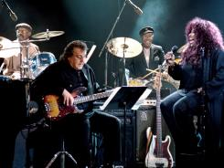 """Funk Brothers Eddie Willis, Bob Babbitt and Richard """"Pistol"""" Allen perform with Chaka Khan in the motion picture 'Standing in the Shadows of Motown.'"""