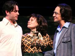 Colin Donnell, left, Celia Keean-Bolger, Lin-Manuel Miranda star in 'Merrily We Roll Along.'