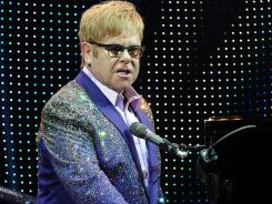 British singer Elton John performs during a concert as part of his &quot;Greatest hits Live 2012&quot; world tour at the Ondrej Nepela Arena in Bratislava.