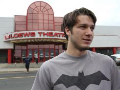 Texas Hoover, 21, of New York City attends a screening of 'The Dark Knight Rises' in Eatontown, N.J.