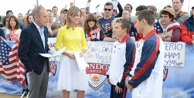 Matt Lauer and Savannah Guthrie interview gymnasts Jonathan Horton and Jake Dalton in their same old 'Today' style.