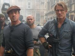 Young at heart: Sylvester Stallone, 66, and Dolph Lundgren, 54, star in 'The Expendables 2.'