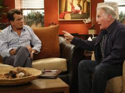 Charlie Sheen's real-life dad Martin, right, plays his onscreen dad named Martin in 'Anger Management' tonight on FX.
