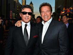 Old pals: 'Expendables 2' stars Sylvester Stallone, left, and Arnold Schwarzenegger have still got it after all these years.