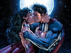 Wonder Woman and Superman share a kiss in the new issue of Justice League.