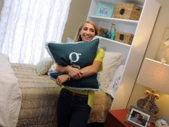 Auburn University freshman Griffin Knight explores her dorm room, which was decorated by Moxii.