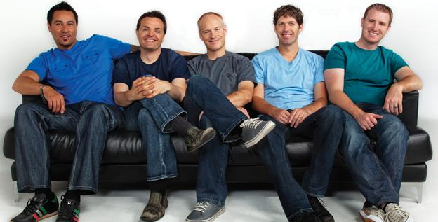 The Guys: Al van der Beek, left, Steven Sharp Nelson, Jon Schmidt, Paul Anderson and Tel Stewart.